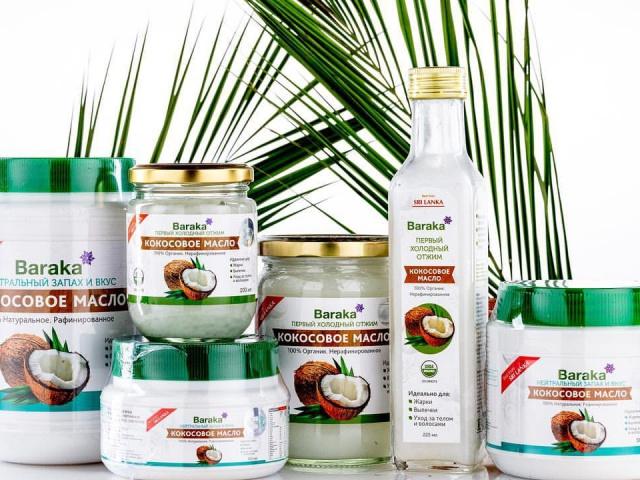 Кокосовое масло BARAKA, 100% нерафинированное, в ассортименте